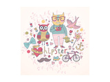 Hipster Set In Cartoon Style