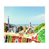 Barcelona  Spain - July 19: Ceramic Mosaic Park Guell On July 19  2013 In Barcelona  Spain