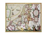 Leo Belgicus: Belgium And Netherlands Old Map In The Form Of A Lion