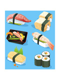 Illustration Of Different Traditional Japanese Food Icons  Including Sushi  Sashimi