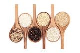 Rice Varieties In Olive Wood Spoons Over White Background