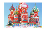 Domes Of The Famous Head Of St Basil'S Cathedral On Red Square  Moscow  Russia