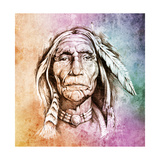 Sketch Of Tattoo Art  Portrait Of American Indian Head Over Colorful Paper