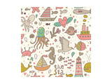 Funny Summer Seamless Pattern With Ships