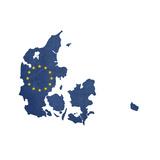 European Flag Map Of Denmark Isolated On White Background