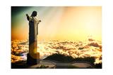 Famous Statue Of The Christ The Reedemer, In Rio De Janeiro, Brazil Reproduction d'art par Satori1312