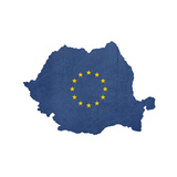 European Flag Map Of Romania Isolated On White Background