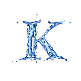 Blue Liquid Water Alphabet With Splashes And Drops - Letter K