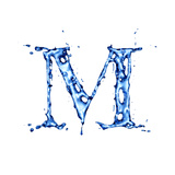 Blue Liquid Water Alphabet With Splashes And Drops - Letter M