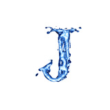 Blue Liquid Water Alphabet With Splashes And Drops - Letter J