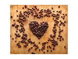 Heart Shape From Brown Coffee Beans  Close-Up On Old Vintage Wooden Background