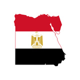 Illustration Of The Egypt Flag On Map Of Country; Isolated On White Background