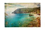 Picturesue Italian Coast - Artwork In Retro Painting Style