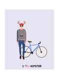 Trendy Hipster Man With Deer Horns And A Blue Vintage Bike