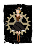 Steampunk Woman On Gear Grunge