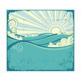 Sea Waves Vintage Illustration Of Sea Landscape