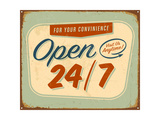 Vintage Tin Sign - Open 24 And 7 Sign - Raster Version