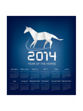 Calendar For The Year 2014 Origami Horse