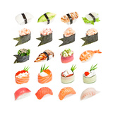 Sushi Set - Different Types Of Sushes Isolated On White Background