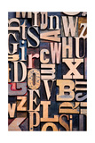 A Random Selection Of Wooden Letterpress Characters As A Background  Narrow Focus