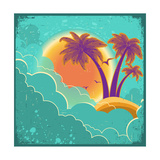 Vintage Tropical Island Background With Sun And Dark Clouds On Old Paper Poster