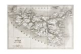 Sicily Old Map With Stromboli Isle Insert Map