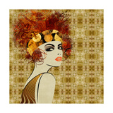 Art Colorful Sketching Beautiful Girl Face On Sepia Ornamental Background  In Art Deco Style