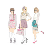 Young Fashion Girls Illustration With Teen Females