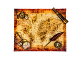 Vintage Magnifying Glass  Compass  Goose Quill Pen  Spyglass And A Pocket Watch Lying On An Old Map