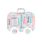 European Cities Bag Shaped Word Cloud On White Background - Tourism And Travel Concept