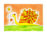 Snail Family  Child'S Drawing  Watercolor Painting On Canvas Paper