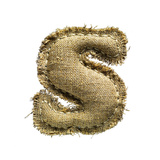 Linen Vintage Cloth Letter S Isolated On White