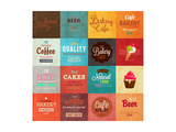 Set Of Retro Bakery Label Cards For Vintage Design  Old Paper Textures Background