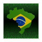 Brazil Map Flag Over Binary Background Illustration
