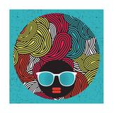Black Head Woman With Strange Pattern Hair Reproduction d'art par Panova