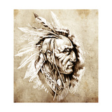 Sketch Of Tattoo Art  American Indian Chief Illustration