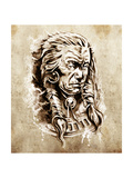 Sketch Of Tattoo Art  Portrait Of American Indian Chief In National Dress