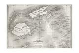 Old Map Of Fiji Islands Reproduction d'art par Marzolino