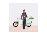 Vintage Hipster Near Scooter - Trendy Illustration