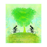 Cycling Sport With Two Riders Grunge Poster Template   Raster