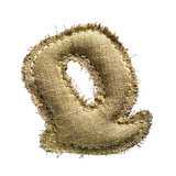 Linen Vintage Cloth Letter Q Isolated On White