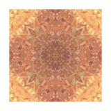 Abstract Pink Peach Stained Glass Kaleidoscope Background