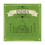 Taj Mahal Of India For Retro Travel Poster