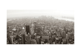 New York City Manhattan Skyline Aerial View Panorama Black And White With Skyscrapers And Street