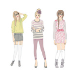Young Fashion Girls Illustration Teen Females
