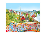 The Famous Summer Park Guell Over Bright Blue Sky In Barcelona  Spain