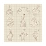 Set Of Cute Cupcakes And Desserts - For Design  Scrapbook  Invitaion