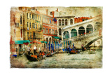 Amazing Venice  Rialto Bridge - Artwork In Painting Style