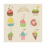 Set Of Cute Cupcakes And Desserts - For Design  Scrapbook  Invitation