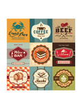 Set Of Vintage Retro Labels For Food  Coffee  Seafood  Bakery  Restaurant Cafe And Bar